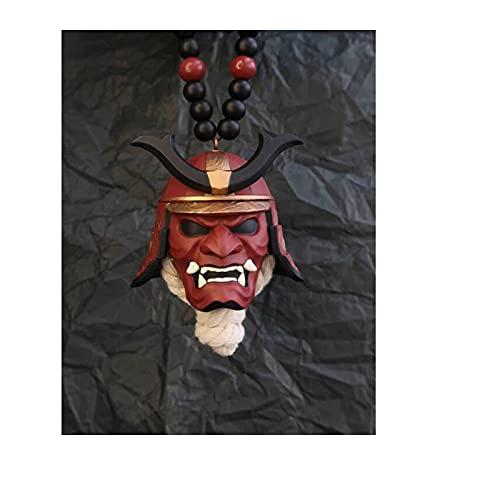 Samurai Kabuto Helmet Hannya Japanese Oni, Samurai Assassin Demon Oni Máscara Adorno, Colgante para Colgar en el Coche con Casco Samurai, Decoración Japonesa Oni Samurai Assassin para Coche A
