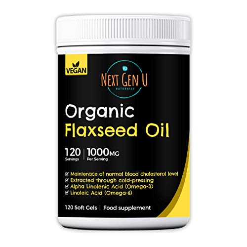 Organic Flaxseed Oil Capsules 1000Mg – 120 Vegan Soft Gels | High in Omega 3 , 6 , 9 | Cold Pressed Organic Flax Seed Formula | 4 Months Supply
