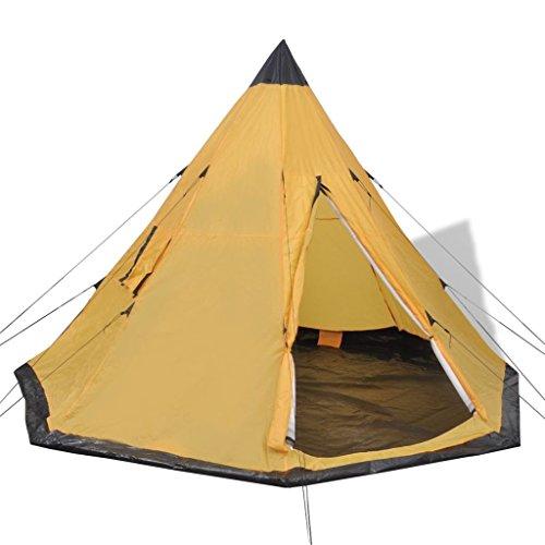 vidaXL 4-Person Camping Hiking Tipi Tent 2 Window Waterproof Yellow Outdoor Family Trip