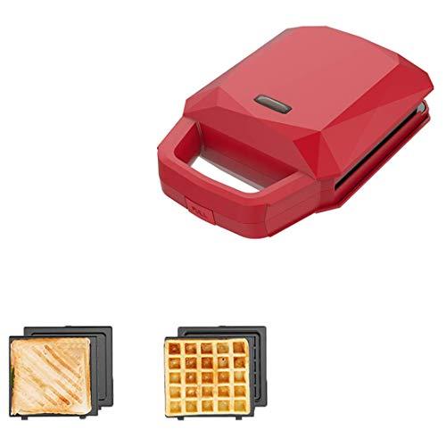 FSJD Mini sandwichera 2 en 1, waflera con 2 Tipos de Utensilios para Hornear, Utensilios para Hornear antiadherentes de Doble Cara, sandwichera casera para el Desayuno