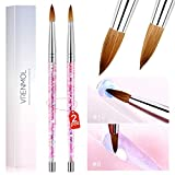 Vrenmol 2pcs Acrylic Nail Brush Set for Acrylic Powder Monomer Application Sable Round Nail Art Brush for Acrylic Nails Extension Carving with Liquid Glitter Handle (#Size 8 & #Size 12)