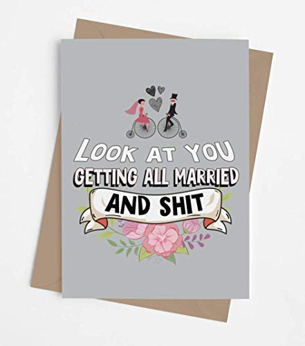 Funny wedding card for groom and bride with envelope | Original joke adult engagement card for him and her | Hilarious congratulatory present for wedding shower or engagement party
