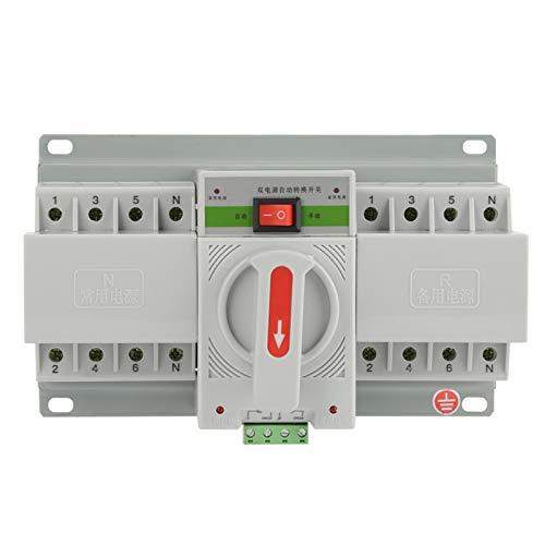 Mini interruptor automático de doble alimentación Interruptor automático Funcionamiento silencioso 220 V 63 A para equipo de la máquina con cubierta protectora