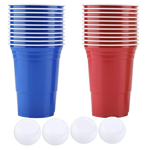 Raguso Beer Pong Set Beber Juego Beer Pong Cups-22 Cups 4 Ping-Pong Balls Accesorios Kit para Party House Eventos al Aire Libre Fiestas BBQ Group Camping (Red Cups 11+Black cups11+4balls)