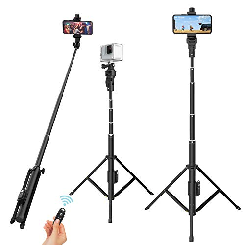 Selfie Stick Tripod, 52' Extendable Phone Camera Selfie Stick with Tripod Stand & Rechargeable Wireless Remote for iPhone Xs X 6 7 8/ Huawei/Samsung Galaxy S9 Note8/ Xiaomi/GoPro/Android Phones