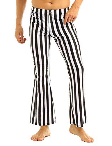 ACSUSS Mens 60s 70s Retro Vintage Striped Stretch Bell Bottom Super Flares Long Pants Black&White Medium