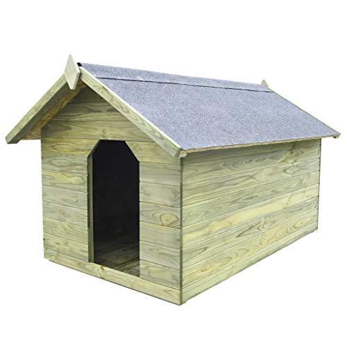 Casita de madera para perros CFG | Casita para perros grande | Casita para animales interior y exterior | Casita para perros | Casita para mascotas | 104,5x153,5x94 cm Pino impregnado abierto