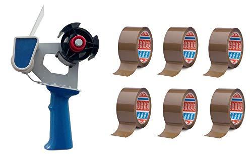 Handabroller Paketband 50mm + 6x Rollen PP- Klebeband 64014 66m x 50mm braun | Abrollhilfe Packband Verpackungsklebeband Abroller