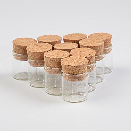 無料配送100個セット4mlコルク栓 透明小さなガラスの瓶かわいいガラス瓶かいりゅうびん祝祭日の贈り物シール容器 (100個セット, 4ml(22x25x19.5mm)