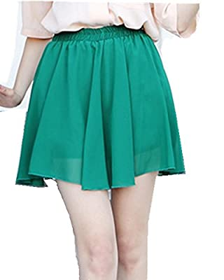 Moyishi Women Fashion Solid Color Jersey Knit Flared A-Line Mini Skater Circle Skirt