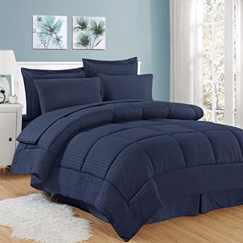 Sweet Home Collection 8 Piece Bed In A Bag with Dobby Stripe Comforter, Sheet Set, Bed Skirt, and Sham Set - Queen - Navy