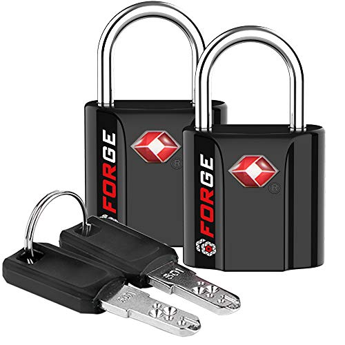 Black 2 Pack TSA Approved Travel Luggage Locks Ultra-Secure Dimple Key Travel Locks with Zinc Alloy Body