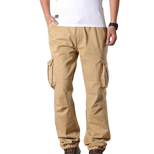 MäNner Sport Arbeits ZufäLlige Hosen-Hosen Workwear Arbeitshose Herren Outdoor Tactical Baumwolle Cargo Trousers Mit Vielen Taschen FüR Jagd Wandern Camping Cargohose Stoff Vintage(Khaki,32)