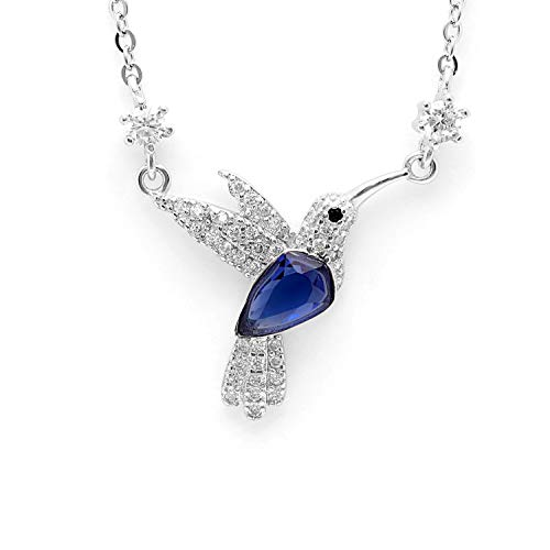 Ginger Lyne Collection Hummingbird Sterling Silver Blue Cubic Zirconia Chain Little Girls Bird Pendant Chain Necklace Jewelry for Women Gifts Friendship Ideas