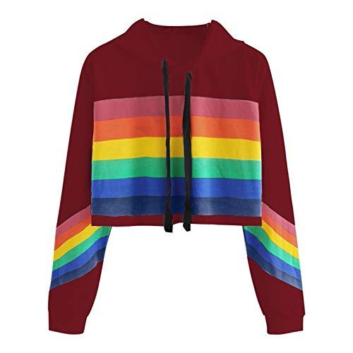 IHGWE Damen Langarm Rainbow Striped Hoodie Pullover Regenbogen Print Sweatshirt Bluse Tops Kapuze Casual Sports Loose Kurzes Oberteil mit Langen Ärmeln