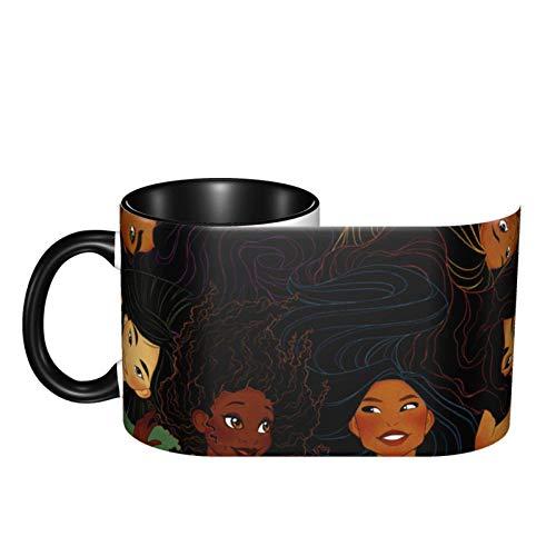 Lawenp Taza de café de cerámica de las princesas Disney. Taza conmemorativa creativa e interesante de 14,5 onzas (aproximadamente 413 gramos) con asa, adecuada para bebidas frías y calientes: capuch