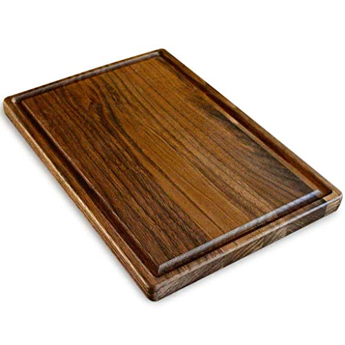 Walnut Wood Cutting Board by Virginia Boys Kitchens - Small 8x12 inch American Hardwood Chopping and Carving Countertop Block with Juice Drip Groove
