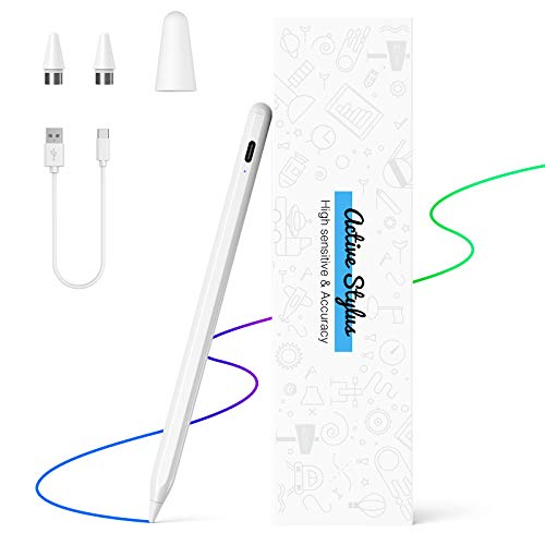 Penna Touch LEZUN Compatibile Con Touchscreen Apple Pen,Penna Ricaricabile Con Punta in Plastica Ultra Sottile da 1,5 MM Compatibile con IOS e Tablet Android Viene Fornita con Due Punte di Ricambio