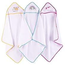 Viviland Toalla de baño con capucha para bebé, gran regalo para bebés y recién nacidos, tacto suave y absorción fuerte, paquete de 3