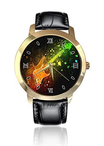Reloj de Pulsera para Guitarra eléctrica Colorida, Esfera Dorada Unisex, Correa de...