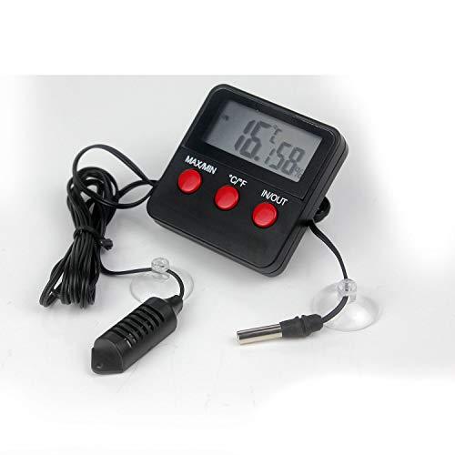 Ytian Digitales Thermometer und Hygrometer mit LCD-Anzeige und mit Fernfühler mit Min - / Max Funktion für Terrarium, Garten, Aquarium