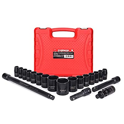 """CASOMAN 1/2-Inch Drive Shallow Impact Socket Set, Metric, 10mm-32mm, CR-V, 6-Point, 20-Piece 1/2"""" Shallow Sockets Set with Extension Bar and Universal Joints"""