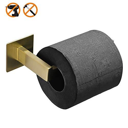 WOMAO Modern Toilettenpapierhalter Ohne Bohren Selbstkleben Toilettenrollenhalter Klorollenhalter zum Kleben, Rostfrei Gebürstet Gold Finished Quadratisch