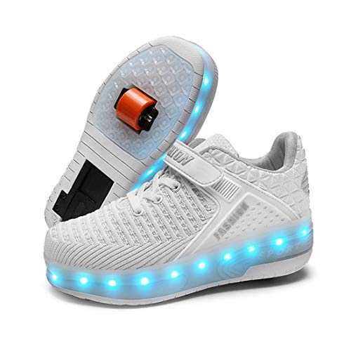 XIANGHAIKUI Unisex Kinder Junge Mädchen LED Leuchtend Schuhe mit Doppelt Rollen Einziehbar Outdoor Sportschuhe 7 Farbe Farbwechsel Blinkschuhe Skateboardschuhe Blinking Gymnastik Sneaker