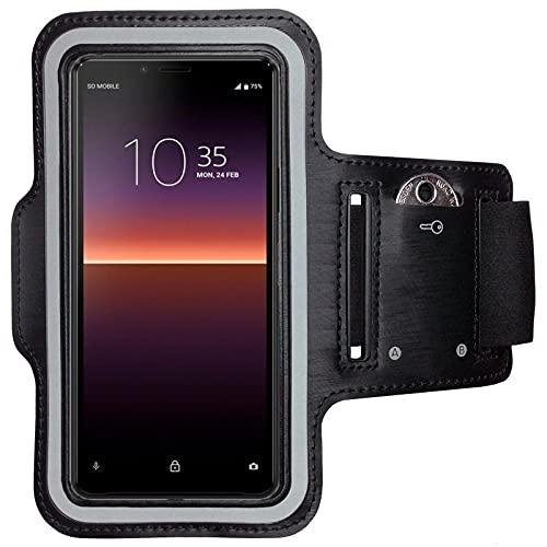 CoverKingz Sportarmband für Sony Xperia 10 II - Armtasche mit SchlüsselfachXperia 10 II - Sport Laufarmband Handy Armband Schwarz