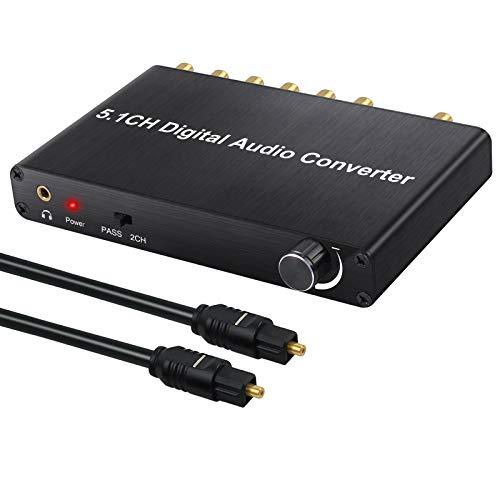 PROZOR 192kHz DAC Digital Audio Decoder Audio Konverter AC-3/DTS (LPCM/PCM/RAW) zu 2.0/5.1CH 3.5mm Ausgang mit Einstellbarer Lautstärke DAC Konverter für HDTV PS3 PS4 Blu-ray DVD