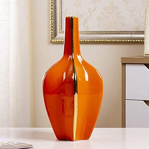 Vase Dekoration Orange Keramikvase Dekoration Licht Wohnzimmer Eingang TV Kabinett Getrocknete Blume Blume Esstisch Home Decoration JXLBB
