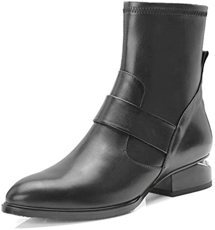 MENGLTX High Heels Sandalen Mode Frauen Stiefeletten Aus Echtem Leder Herbst Winter Warm Platz Heels Schuhe Frau Casual Runde Kappe Damen Stiefel