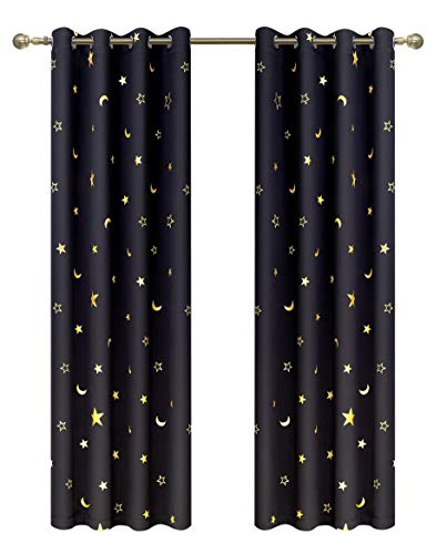 Blackout Curtains with Gold Star Moon Print for Kids Room Grommet Thermal Insulated Window Curtains for Nursery Bedroom 2 Panels 63 inch Lengh Black Set Curtain by GD