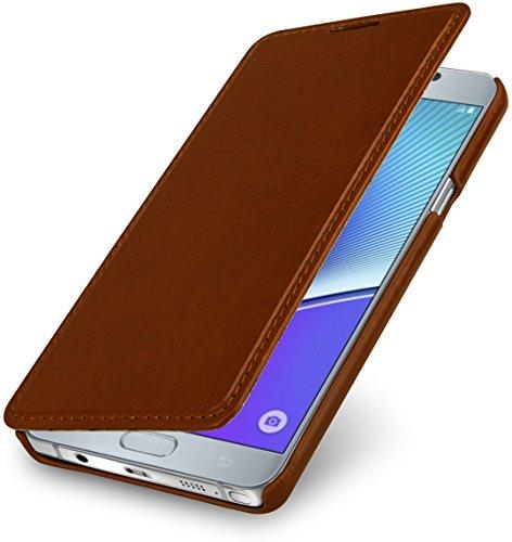 StilGut Book Type Hülle, Hülle aus Leder für Samsung Galaxy Note 5, Cognac