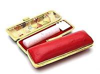 「キュービックinミルキィ印鑑ピンク15.0mm×60mmオーストリッチタイプレッドケース付き」 認印・銀行印サイズ 横彫り 吉相体