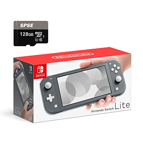 Nintendo Switch Lite Console - Gray - with SPSE 128GB Micro SD Card and Adapter