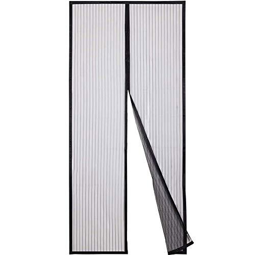 Vliegengaas, ultrastil, gestreept, magnetische zachte deur met zelfklevend vliegengordijn. 80x250cm(31x98inch) zwart