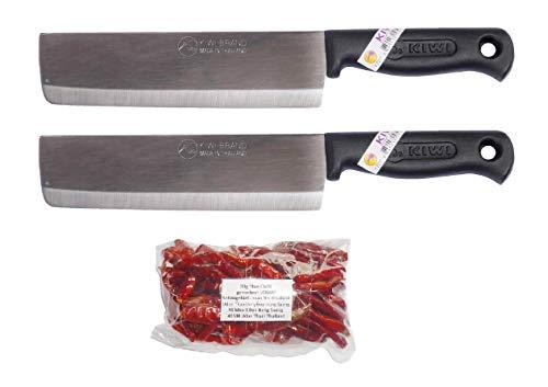 kiwiandkomkom Kiwi Thai 172P - Juego de 2 cuchillos de cocina (30 g, afilados, de Tailandia, Isaan, Nong Saeng)