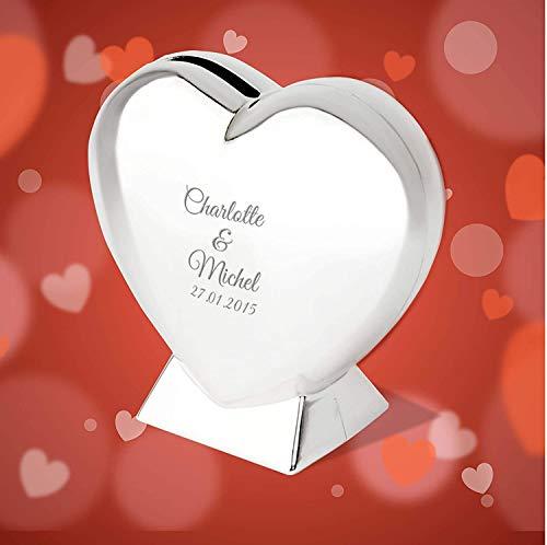 Smyla Herz-Spardose mit Gravur | schöne Spardose Herz zur Hochzeit oder einem gemeinsamen romantischen Anlass | Silber, 9cm | Valentinstag