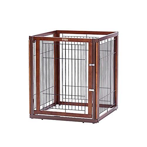 Puerta de madera de madera independiente, puerta plegable para mascotas, para barrera de perros Paneles de puerta de mascotas para perros para escaleras (tamaño: monolítico con puerta) (Tamaño: Monolí