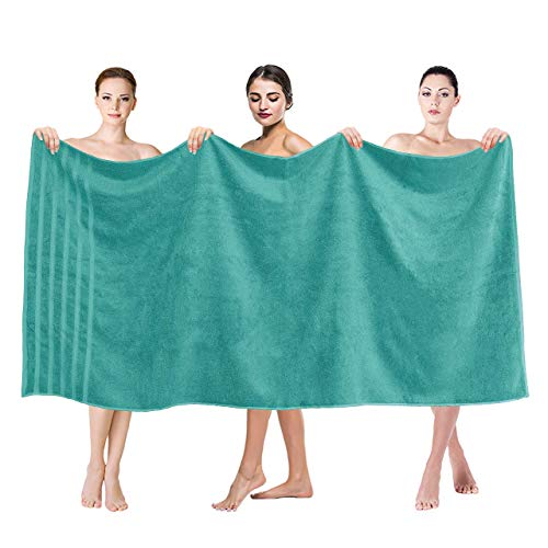 Premium, Luxury Hotel & Spa Quality, 35x70 Extra Large Jumbo Size Bath Towel, Bath Sheet Cotton for Maximum Softness and Absorbency by American Soft Linen, [Worth $34.95] Turquoise Blue
