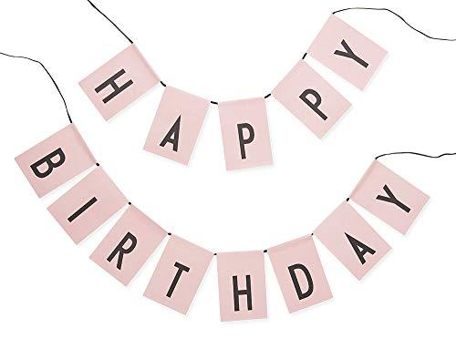 Design Letters Flaggen, Happy Birthday/Surprise Party Wende Wimpelkette-wiederverwendbar (Pink)