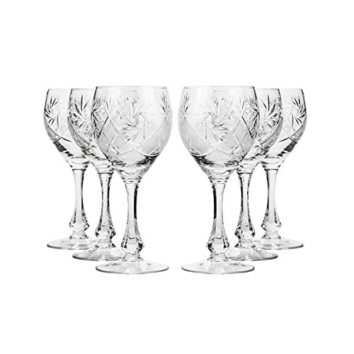 Set of 6 Neman Glassworks, 10-Oz Hand Made Vintage Russian Crystal Wine Glasses, Cut Crystal Goblets on a Stem, Old-fashioned Glassware