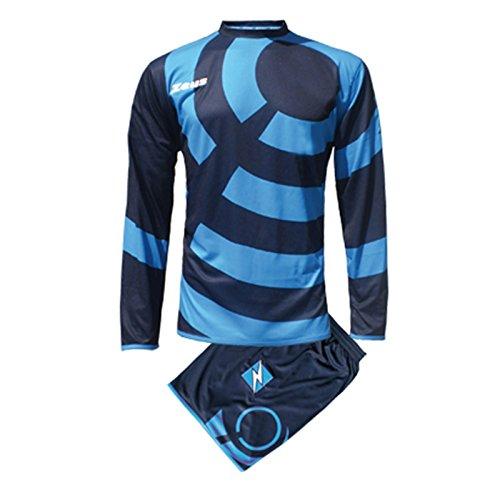 Zeus Herren Kinder Set Trikot Shirt Hosen Klein Armel Kit Fußball Hallenfußball KIT RING BLAU ROYAL (L)