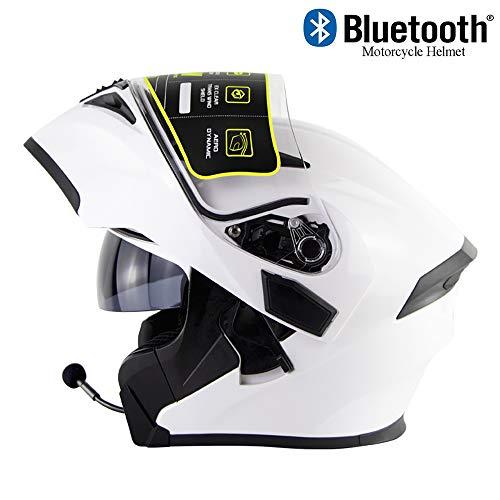 EDW Casque de Moto Bluetooth Anti-Collision intégré modulable Flip...