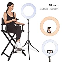 INTELLIGENT AND QUICK COLOR CHANGE - Inkeltech Ring Lights are controlled via the IR remote controller or the knob on the stand. Adjust the color temperature from 3000 K to 6000 K easily without using color filters. Achieve cold white light or warm l...