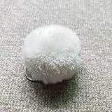 Llavero de piel de conejo esponjosa, con pompón y pompón negro, 5 unidades