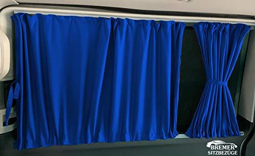 T5 und T6 Transporter kurzer Radstand Maß Gardinen Vorhänge Sonnenschutz mit Heckklappe Farbe: Blau