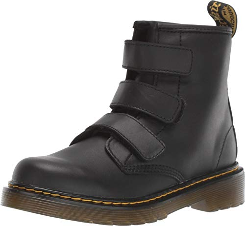 Dr. Martens Kid's Collection 1460 Strap (Little Kid/Big Kid) Black Romario/Smoother Finish 2 UK (US 3 Little Kid)