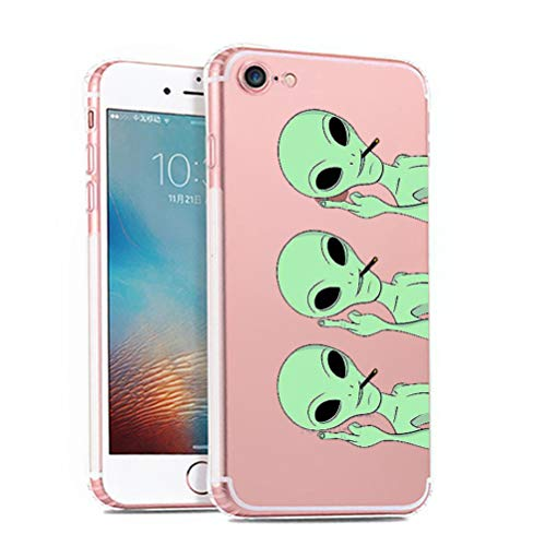 iPhone 7 Case,Novelty Pattern Soft TPU Silicone Protective Skin Ultra Slim Clear with Cute Design Bumper Back Cover for iPhone 8 ,Alien